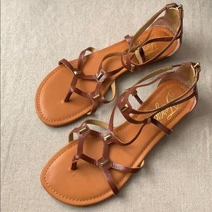 Fergie Soft Cognac Leather Gladiator Sandal